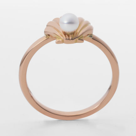 K18PG SHELL RING with BABY PEARL
